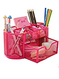 Space Saving Desk Tidy Multi-functional Metal Wire Mesh 9 Compartment Office / School Supply Desktop Organizer Caddy W/ Large Drawer (Dark Pink 1)