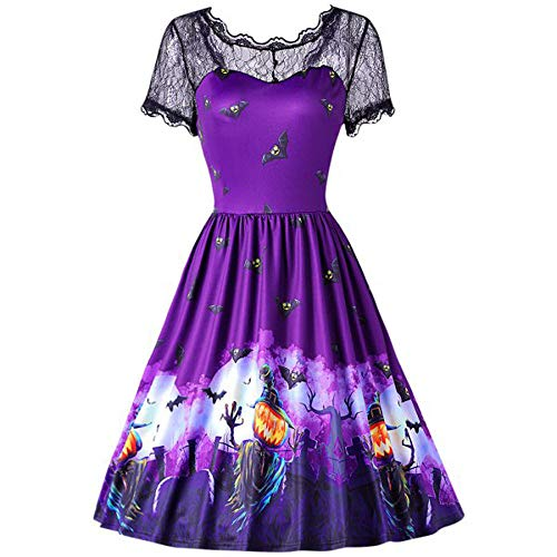 ThsiJJ Womens Halloween Retro Dress Elegant Bat Pumpkin Embroidery Party Dresses Lace Hollow Short Sleeve Skater Dress Purple -