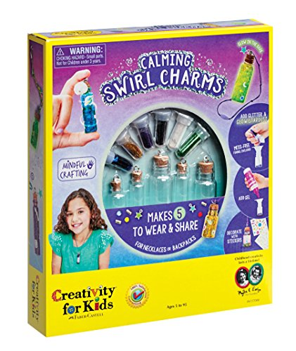 Creativity for Kids Calming Swirl Charms - Makes 5 Necklace and Backpack Accessories -