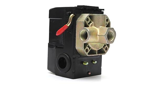 EsportsMJJ Compresor De Aire Presostato Válvula De Control 4 Puertos 90-120Psi 26 Amp 240 Vca: Amazon.es: Hogar