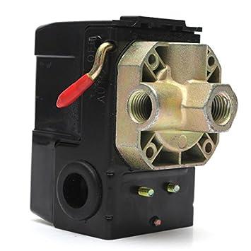 ChaRLes Válvula De Control Del Interruptor De Presión Del Compresor De Aire 4 Puertos 90-120Psi 26 Amp 240Vac: Amazon.es: Bricolaje y herramientas