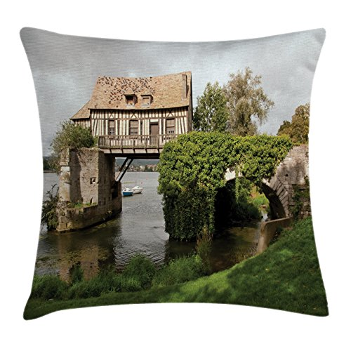 Lunarable Landscape Throw Pillow Cushion Cover, Mill on Medieval Bridge in Vernon Normandy Countryside Tourist Attraction Picture, Decorative Square Accent Pillow Case, 40 X 40 Inches, Green Grey (Vernon Throw)