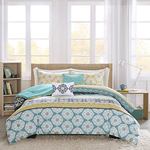 LO 4 Piece Green Yellow Navy Geometric Medallion Comforter Set Full Queen, Light Yellow Blue Bohemian Motif Tribal Circle Cabana Stripes Adult Bedding Master Bedroom Casual Colorful Fancy, Polyester