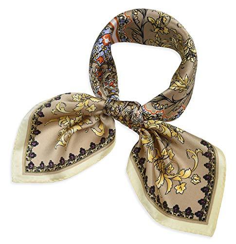 corciova Women 100% Mulberry Silk Neck Scarf Small Square Scarves Neckerchiefs Flowers Burlywood
