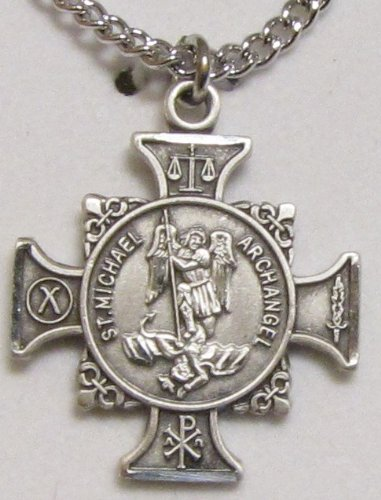 Sterling Silver Maltese Cross Shaped St. Michael Medal