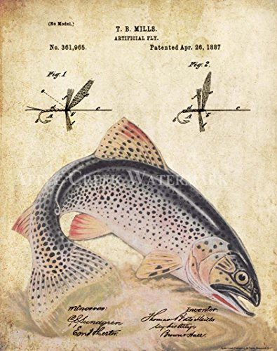 Apple Creek Antique Fly Fishing Lure US Patent Poster Art Print Rainbow Trout Largemouth Bass Walleye Muskie Lures Poles 11x14 Wall Decor Pictures