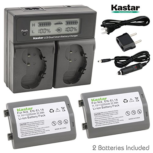 Kastar LCD Dual Smart Fast Charger & Battery (2 PACK) for Nikon EN-EL18, EN-EL18a, ENEL18, ENEL18a, MH-26, MH-26a, MH26 and Nikon D4, D4S, D5 Digital SLR Camera, Nikon MB-D12, D800, D800E Battery Grip