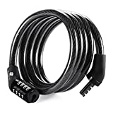 Etronic ® Security Lock M4 Self Coiling Cable Lock, 4-Feet x 5/16-Inch - Black