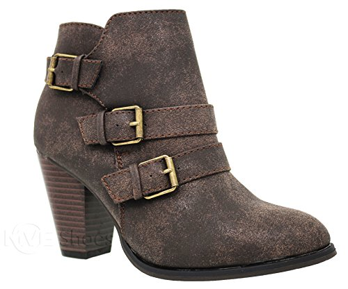 MVE Shoes Women's Mid Heel Ankle Bootie - Deco Triple Buckle Pointed Shoe - Side Zipper Ankle-High by Toys Brown*c64