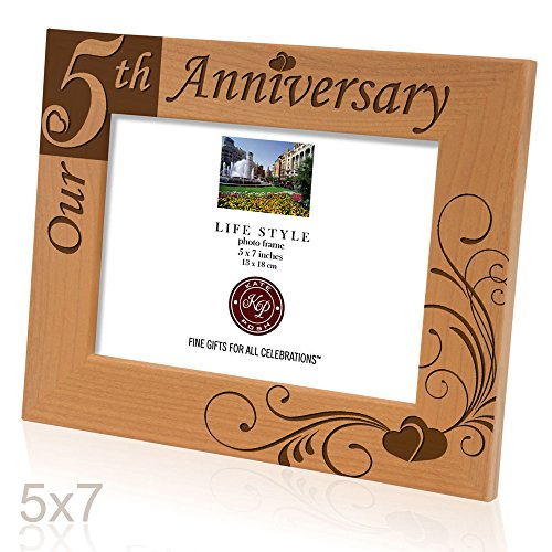 """Kate Posh - """"Our 5th Anniversary"""" Wooden Picture Frame (5x7 Horizontal)"""