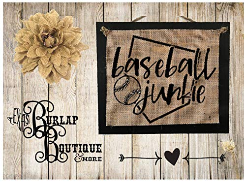 Handmade Burlap sign, Baseball Junkie, Country Rustic Chic Wedding Sign Western Home Décor ()