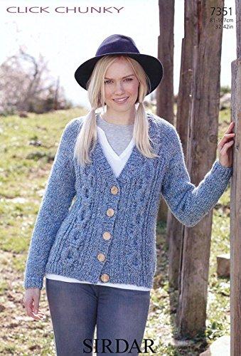 Sirdar Ladies Cardigan Click Knitting Pattern 7351 Chunky ()