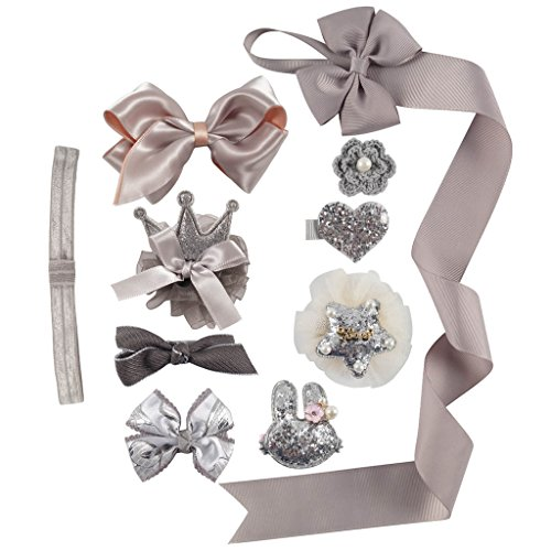 Ncmama Baby Girls Boutique Ribbon Gray Hair Bows Glitter Crown Headband Clips Holder for Infant Toddler Kids Pack of 10 (Unique Headbands Baby)
