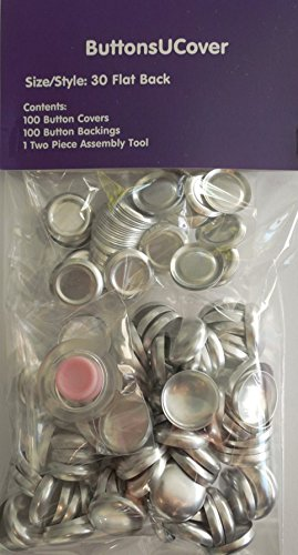 100 ButtonsUCover Cover Buttons FLAT Back Size 30 and Assembly Tool -