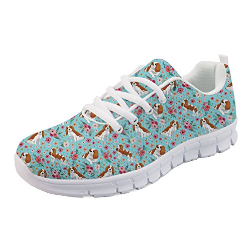 King Spaniel Women Flat Coloranimal Charles Flower Sneakers Summer Walking Spring Shoes for Running Sports ff6vqwA