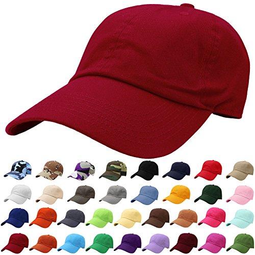 Falari Baseball Cap Hat 100% Cotton Adjustable Size Wine 1822 (Best Fitting Baseball Hats)