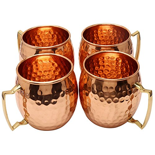 Zap Impex ® Pure Copper Hammered Moscow Mule Mug With Solid Brass Handle Set Of 4- 16 Ounce by Zap Impex