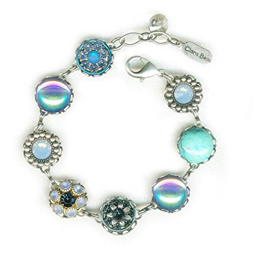 (Clara Beau Dazzling SilverTone Blue AB Swarovski crystal Filigree Cluster Bracelet BF153)
