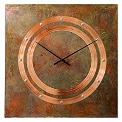 Patinated Copper Rustic Square Large Wall Clock 20-inch - Silent Non Ticking Gift for Home/Office/Kitchen/Bedroom/Living Room