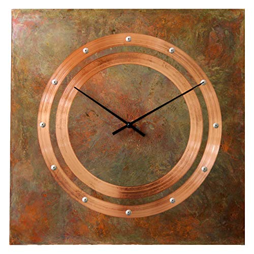 Silent Square - Patinated Copper Rustic Square Large Wall Clock 20-inch - Silent Non Ticking Gift for Home/Office/Kitchen/Bedroom/Living Room