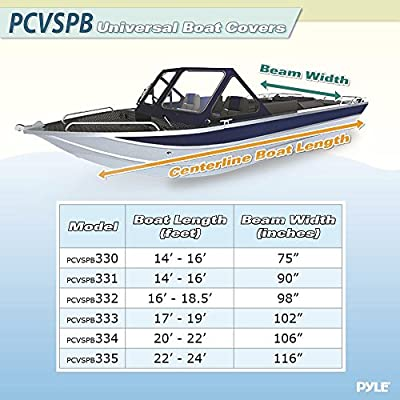 Pyle Armor Shield Boat Cover, Waterproof Marine Grade 600 Denier Polyester for V-Hull Runabouts Ultimate Durability All Weather Protection Universal Fit 22 Ft. 23 Ft. 24 Ft. 116 In. Width (PCVSPB335)
