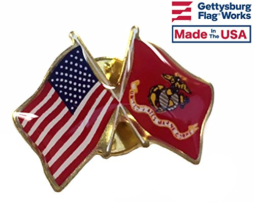 US-USMC Crossed Flags Lapel Pin, Made in USA - Flag Design Lapel Pin