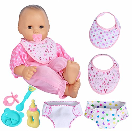 ebuddy Baby Doll Accessories 4pc Feeding Set and 2pc Diapers 2pc Bibs for 14-18 Inch dolls