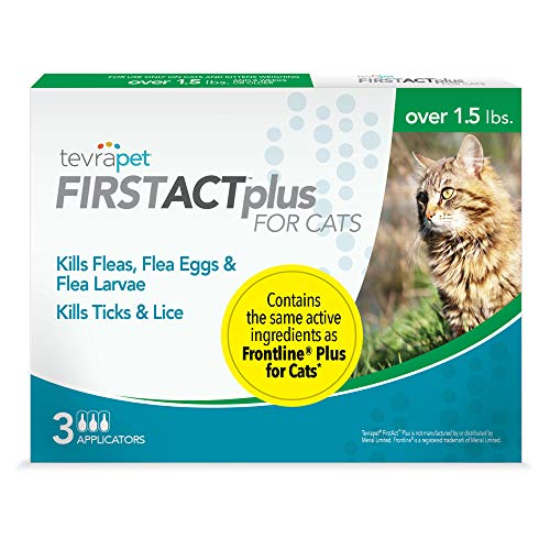 TevraPet FirstAct Plus Flea and Tick Topical for Cats over 1.5lbs, 3 Dose Flea and Tick Prevention. Waterproof Flea and Tick Control for 3 Months from TevraPet