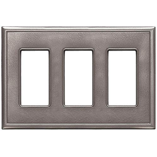 Triple Decorator GFCI Switch Plates Questech Screwless Wall Plate Covers   No Visible Screws (Brushed Nickel) ()