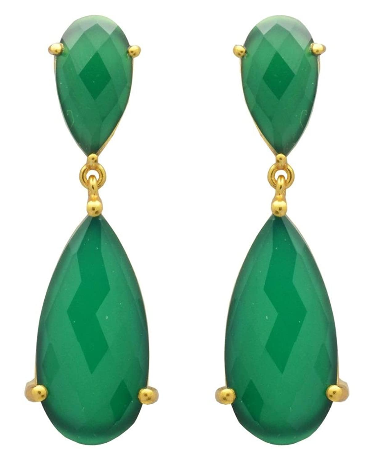 YoTreasure Green Onyx Gold Plated Over Brass Drop Statement Earrings Jewelry