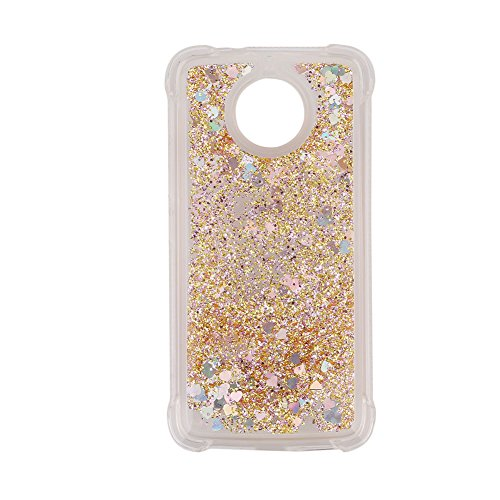 For Motorola MOTO G5S/G6 Phone Case with Screen Protector, Aearl Bling Glitter Liquid Luxury Sparkle Shiny Flowing Quicksand Cute Clear Transparent TPU Bumper Cover for MOTO G5S - Diamond Gold Heart