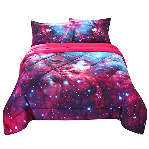 12' Pink 50 Sheets - Wowelife Galaxy Comforter Blue and Hot Pink Twin 3D Outer Space Blue Bedding Sets Mysterious Red Sky Cosmos 5 Piece with Print Comforter for Kids(Twin, Hot Pink Galaxy)