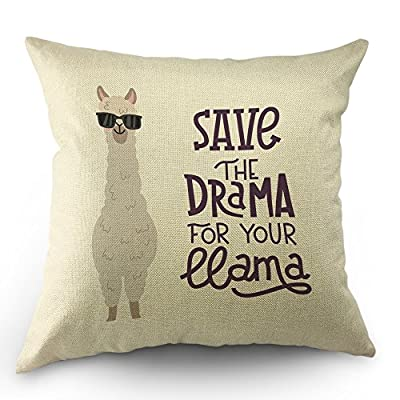 "Llama Pillow Case Cute Alpaca with Glasses with Lettering Quote Save The Dream for Your Llama Throw Pillow Case 18"" x 18"" Inch Cotton Linen Cushion Cover for Men Women White - This Llama Pillow Covers Made of 50% Cotton and 50% Linen,Comfortable & Warm Touch. Brand New 1 PCs Square Pillow Covers/Shells 18"" X 18""(45 X 45cm) No Insert or Filler Two-sided print.The front pattern the same as the back.brings novelty Look To Your Home Decor. - living-room-soft-furnishings, living-room, decorative-pillows - 517yJ00AtlL. SS400  -"