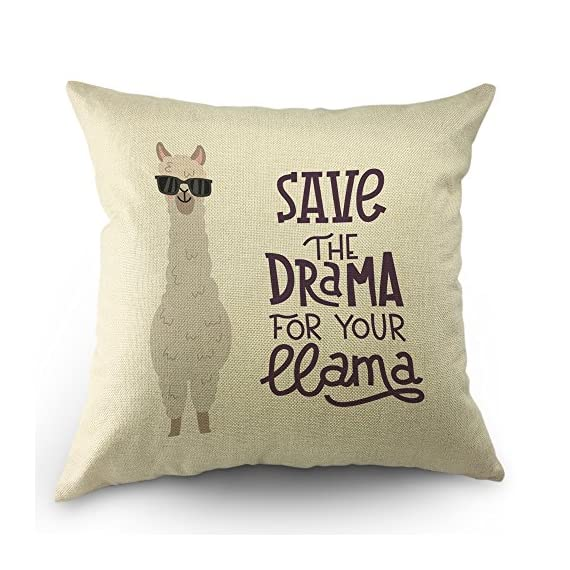"Llama Pillow Case Cute Alpaca with Glasses with Lettering Quote Save The Dream for Your Llama Throw Pillow Case 18"" x 18"" Inch Cotton Linen Cushion Cover for Men Women White - This Llama Pillow Covers Made of 50% Cotton and 50% Linen,Comfortable & Warm Touch. Brand New 1 PCs Square Pillow Covers/Shells 18"" X 18""(45 X 45cm) No Insert or Filler Two-sided print.The front pattern the same as the back.brings novelty Look To Your Home Decor. - living-room-soft-furnishings, living-room, decorative-pillows - 517yJ00AtlL. SS570  -"