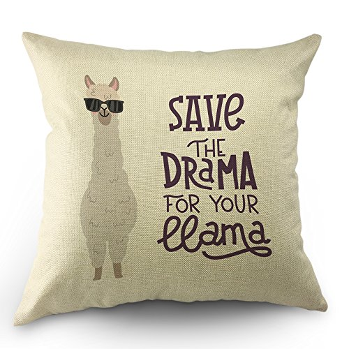 "517yJ00AtlL - Moslion Llama Pillow Case Cute Alpaca with Glasses with Lettering Quote Save the Dream For Your Llama Throw Pillow Case 18"" x 18"" Inch Cotton Linen Cushion Cover for Men Women Kids White"