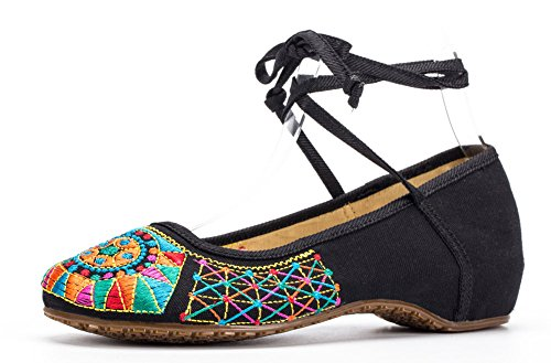 AvaCostume Womens Embroidery Classics Flats Rubber Sole Casual Shoes q7obQh