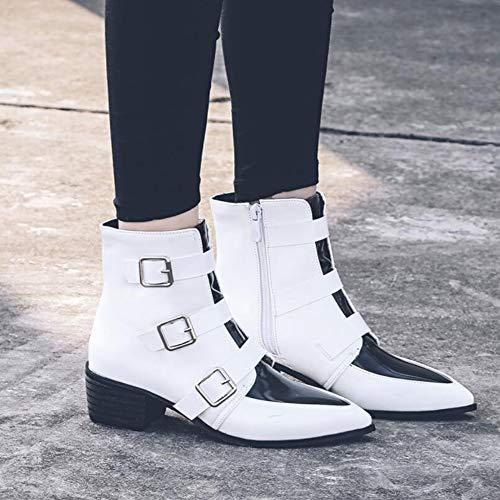 Di Stivali Colore White Dimensioni Gli Fibbia Stivali Donna Cintura Grandi KUKI Stivali Di Scarpe Pelle Autunno Moda Con Donna Da AUnaUYpf
