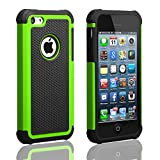 iPhone 5C Case,AUMIAU Hybrid Dual Layer Shock Absorbin Armor Defender Protective Case Cover (Hard Plastic with Soft Silicon) for Apple iPhone 5C(Green)