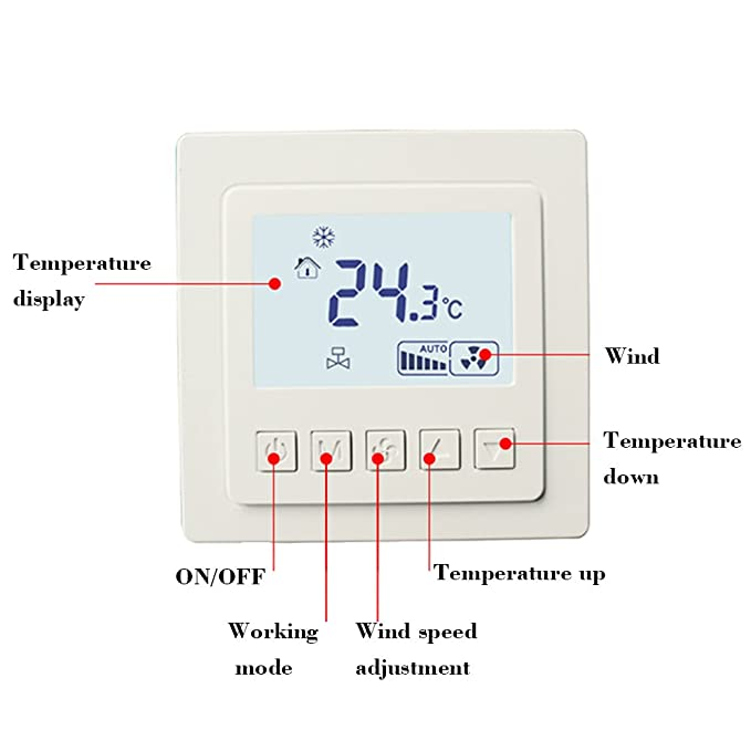 KKmoon Temperaturregler 【Zentralklimaanlage Schalter/Intelligenter ...