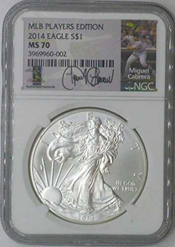 2014 Special Mint $1 MS70 NGC $1 Silver Eagle 1 Troy Oz Fine Silver .999 MLB Players Edition Miguel Cabrera MS70 NGC