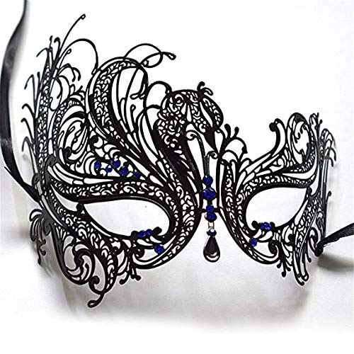 Face mask Shield Veil Guard Screen Domino False Front Heart Hyun Metal Rhinestone Half Face Mask Female Halloween Makeup Prom Party Show Princess Mask Eye Mask Black,Black -