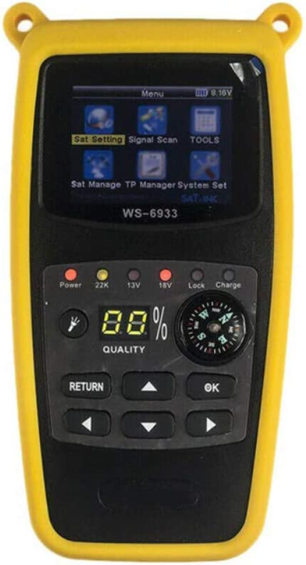 Forart Satellite Finder Digital TV Finder DVB-S2 Star Finder WS-6933 with Flashlight Compass Yellow