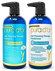 Pura D'Or Terapia de adelgazamiento del cabello champú y acondicionador sistema 2-piece para la prevención, una infusión de prima orgánica de aceite de argán, biotina e ingredientes naturales