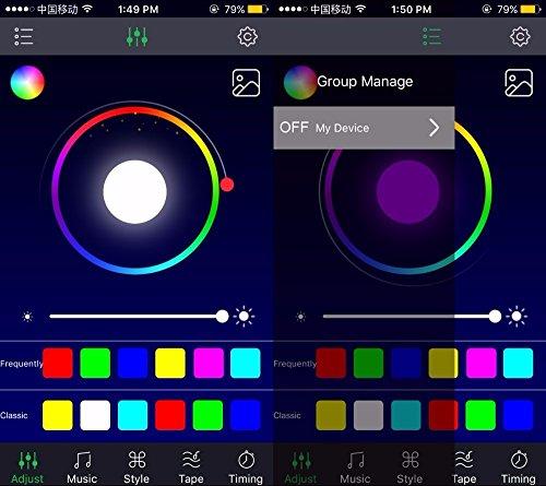 SJPLIght Car LED Strip Lights, 4 Pcs 48 LEDs Car Interior RGB Music Atmosphere Floor Underdash Lights, APP Control Bluetooth Light Kit for Iphone/Android/Google Phones by SJPLIght (Image #6)'