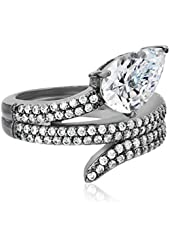 CZ by Kenneth Jay Lane Pear Round Cubic Zirconia Snake Coil Adjustable Ring, Size 5-7, 13 CTTW