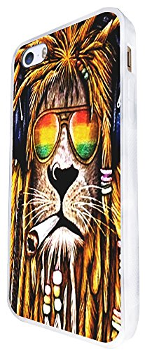 716 - Rasta Lion Weed Cannabis Hair Jamaican Design iphone SE - 2016 Coque Fashion Trend Case Coque Protection Cover plastique et métal - Blanc