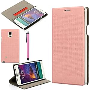Galaxy Note 4 Case, Note 4 Wallet case, oneCase™ Premium PU Leather Folio Wallet Case Flip Cover with Built-in Card Slot & Stand for Samsung Galaxy Note 4 + Stylus Pen (Pink)