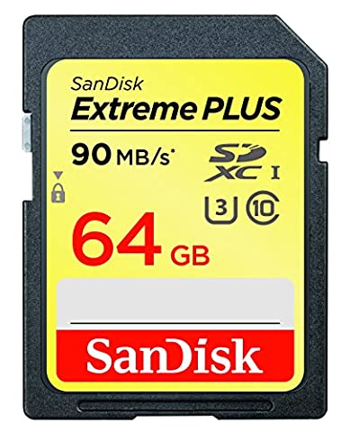 SanDisk Extreme PLUS SDXC UHS-I/U3 64GB Memory Card Up to 90MB/s Read (SDSDXSF-064G-GNCIN) (Sandisk Extreme Plus 64 Gb Sdhc)