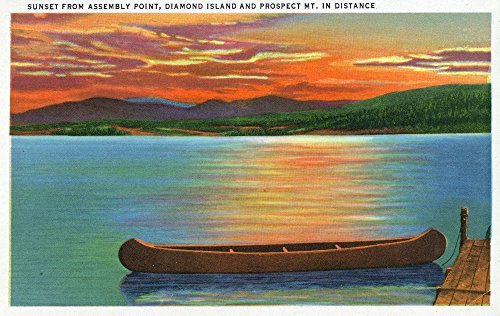 Lake George, NY - Assembly Point Sunset View of Diamond Island, Prospect Mt (36x54 Giclee Gallery Print, Wall Decor Travel Poster)