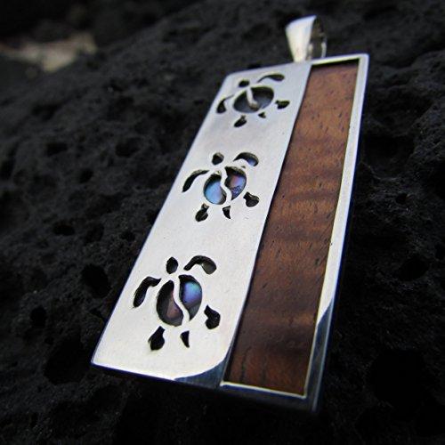 Sea Turtle Pendant Necklace. Sterling Silver. Abalone Shell. Hawaiian Koa Wood.